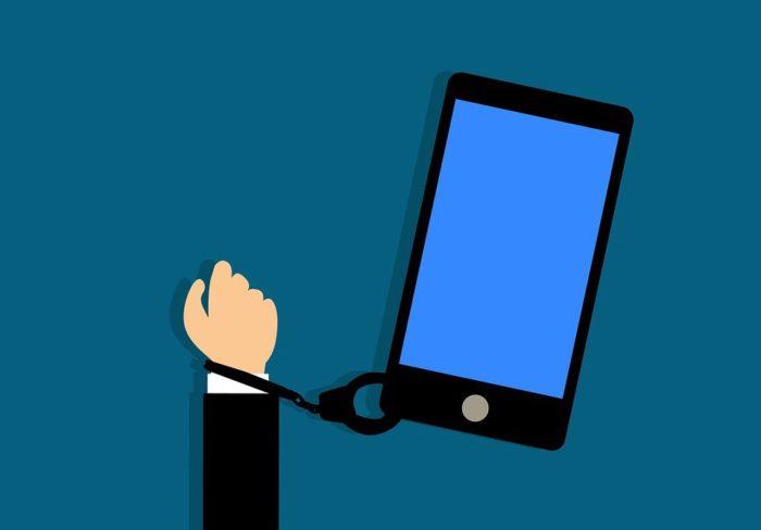 Addiction, Smartphone, Addict, Accro, Le Bras, Bleu